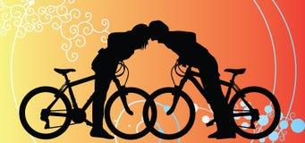 Os ciclistas acoplam a viagem de amor no fundo do Valentim ilustração stock