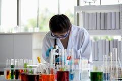 Os cientistas estão trabalhando em laboratórios de ciência fotografia de stock