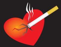 Os cigarros de fumo quebram seu coração Imagens de Stock Royalty Free