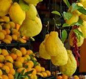 Os citrinos e os chiles italianos em um mercado param Imagem de Stock