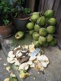 Os cocos verdes estão esperando o processamento com faca Imagens de Stock
