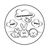 Os coelhos bonitos e o ouriço no gramado com rotulação seguem seus sonhos ilustração do vetor