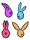 Os coelhos de coelhos lineares do vetor da Páscoa dirigem silhuetas em cores brilhantes Fotografia de Stock