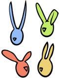 Os coelhos de coelhos lineares do vetor da Páscoa dirigem silhuetas em cores brilhantes Fotografia de Stock Royalty Free
