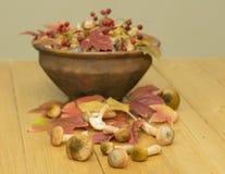 Os cogumelos e as bagas do viburnum em uma argila velha rolam em uma tabela de madeira Imagens de Stock Royalty Free