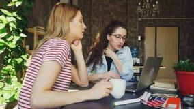 Os colegas de trabalho fêmeas estão trabalhando no projeto que olham junto a tela do portátil São de fala e gesticulando, um dele vídeos de arquivo
