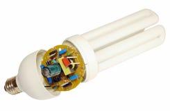 Os componentes de lâmpadas da economia de energia imagens de stock royalty free