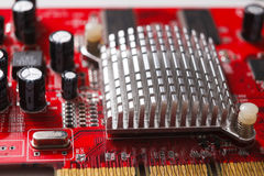 Os componentes do cartão-matriz do computador fecham-se acima Fotos de Stock