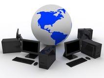 Os computadores aproximam a terra Fotografia de Stock