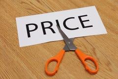 Os conceitos de scissor o corte - preço Imagem de Stock Royalty Free