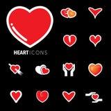 Os ícones abstratos do coração assinam para o amor, gráfico do vetor da felicidade Foto de Stock Royalty Free
