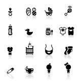 Os ícones ajustaram bebês Foto de Stock