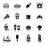 Os ícones ajustaram a comida lixo Fotografia de Stock Royalty Free