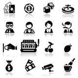 Os ícones ajustaram o casino Fotografia de Stock