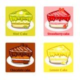 Os ícones ajustaram-se com os bolos doces coloridos, elementos do vetor Imagem de Stock