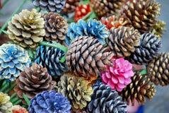 Os cones coloridos do pinho pintados em Chiangmai, Tailândia Imagem de Stock