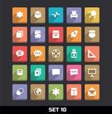 Os ícones com sombra longa ajustaram 10 Imagens de Stock Royalty Free