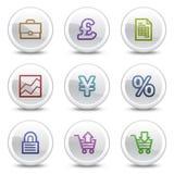 Os ícones da cor do Web do comércio electrónico, o círculo branco abotoam-se Imagens de Stock Royalty Free