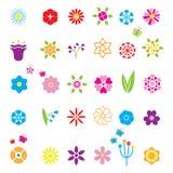 Os ícones da flor ajustaram-se Fotos de Stock Royalty Free
