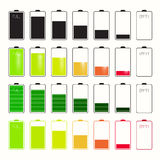 Os ícones da vida da bateria ajustados ajustaram-se Imagens de Stock Royalty Free