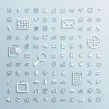 Os ícones de papel ajustaram-se do Internet do escritório dos eventos da finança Imagens de Stock Royalty Free