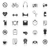 Os ícones do bem-estar com refletem no fundo branco Imagens de Stock Royalty Free