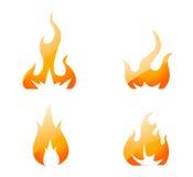 Os ícones do incêndio ajustaram-se   Imagens de Stock