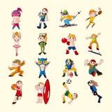Ícones do jogador do esporte ajustados Fotografia de Stock