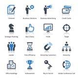 Os ícones do negócio ajustaram 2 - série azul Fotografia de Stock Royalty Free