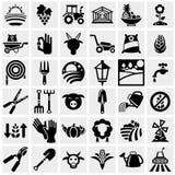 Os ícones do vetor da exploração agrícola e da agricultura ajustaram-se no cinza Fotos de Stock Royalty Free