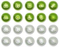 Os ícones do Web da medicina ajustaram 2, teclas verdes do círculo Imagens de Stock
