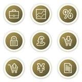 Os ícones do Web do comércio electrónico, círculo marrom abotoam a série Imagens de Stock Royalty Free