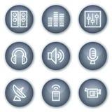 Os ícones do Web dos media, círculo mineral abotoam a série Imagens de Stock Royalty Free