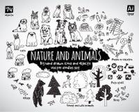 Os ícones grandes das garatujas do animal e da natureza do pacote objetam Imagem de Stock