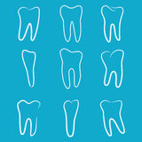 Os ícones humanos dos dentes ajustaram-se no fundo azul para a clínica da medicina dental Logotipo linear do dentista Vetor Foto de Stock Royalty Free