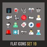Os ícones lisos ajustaram 19 Foto de Stock Royalty Free