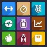 Os ícones lisos da aptidão ajustaram 17 Imagem de Stock Royalty Free
