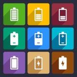 Os ícones lisos da bateria ajustaram 22 Imagem de Stock Royalty Free