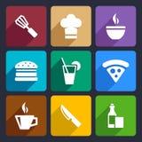 Os ícones lisos da cozinha ajustaram 23 Fotografia de Stock Royalty Free