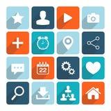 Os ícones lisos da ilustração do vetor do projeto ajustaram-se para a Web Imagens de Stock