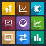 Os ícones lisos de Infographic do negócio ajustaram 34 Imagens de Stock Royalty Free