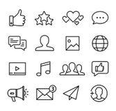 Os ?cones sociais dos media ajustaram-se ilustração stock