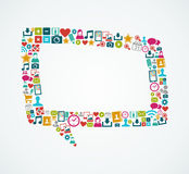 Os ícones sociais dos meios isolaram a bolha EPS10 fi do discurso Fotografia de Stock