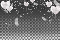 Os confetes balloon o branco e embandeiram fitas sobre a parede branca da telha, ele ilustração stock