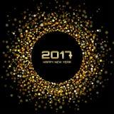Os confetes brilhantes do ouro circundam o fundo 2017 do ano novo do quadro Fotografia de Stock