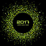 Os confetes brilhantes verdes circundam o fundo 2017 do ano novo do quadro Fotos de Stock Royalty Free