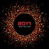 Os confetes brilhantes vermelhos circundam o fundo 2017 do ano novo do quadro Fotos de Stock Royalty Free