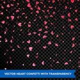 Os confetes das pétalas dos corações que caem no fundo transparente Valentine Day projetam ilustração do vetor