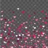 Os confetes do coração caem belamente no fundo ilustração royalty free