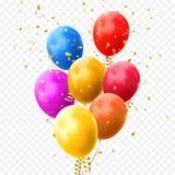 Os confetes dourados das estrelas dos balões coloridos vector o ícone do festival da festa de anos ilustração stock